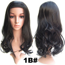 5pcs/lots Wavy synthetic lace front wig Women Long Body Wavy Braided Hairband Wigs Synthetic Curly 3/4 Half Wig With Headband(China (Mainland))