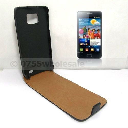 Genuine Leather Case Pouch for Samsung Galaxy S2 i9100 Real Flip Leather Case Cover + Screen Proctor