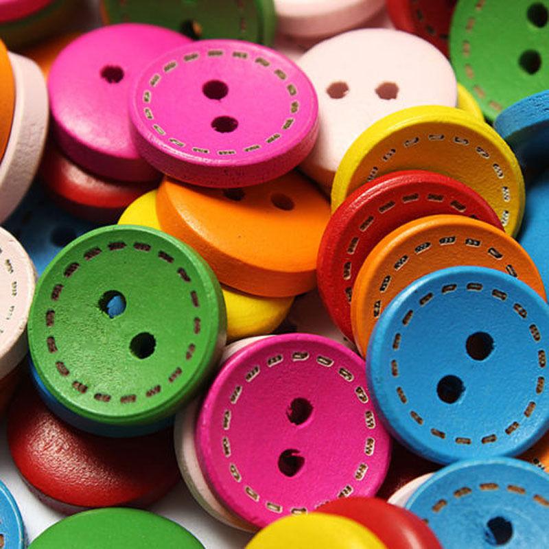 100 PCS Mixed 2 Holes Round Wood Buttons Clothing Sewing DIY Craft Scrapbook 15mm(China (Mainland))