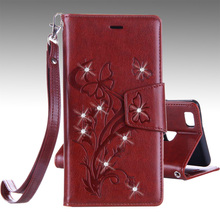Vintage PU Leather 3D Flowers Print Full Flip Cover Case Huawei P9 Lite / G9 Stand Function Phone Bag Funda - OnLines 3C store
