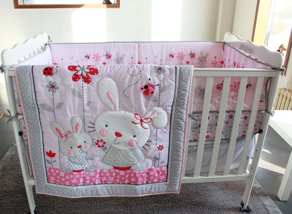 7 pieces embroidery 3D Lovely rabbit Pink flowers insects baby bedding set Baby Quilt Bumper bedskirt Fitted crib bedding set