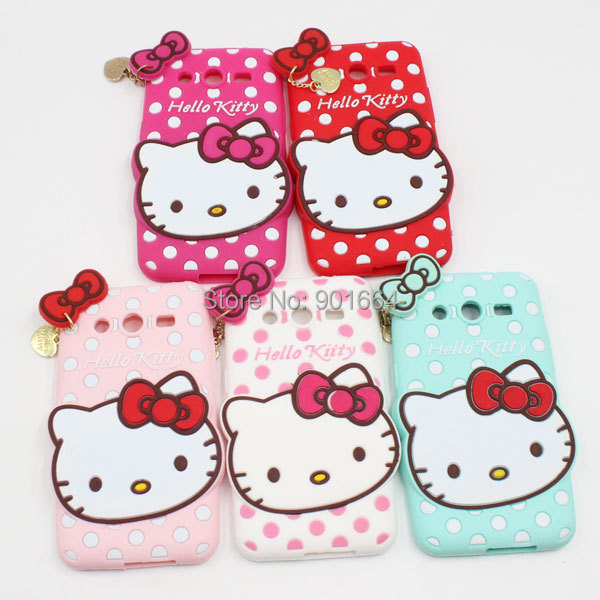 New Brand Cute Hello Kitty Bow Heart Charm Polka Dot Soft Silicone Back Case For Samsung Galaxy Core II 2 G355H Cell Phone Cover(China (Mainland))
