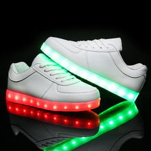 2016 Fashion Led Shoes For Children Lace Luminous Sneakers boys girls USB Charging Light Up kids Glowing Led Shoes S3A21