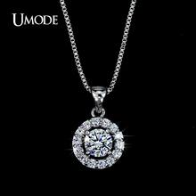 UMODE Hearts & Arrows cut 0.6 carat Top Quality AAA+ CZ Diamond Round Pendant Necklace UN0012(China (Mainland))