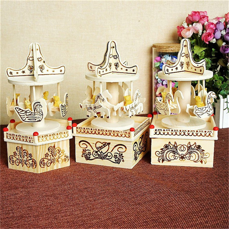 2016 DIY Merry-Go-Round Carousel Music Box 3* Patterns Wooden Horse Crafts For Kids Birthday Wedding Gift Toy Home Decoration(China (Mainland))