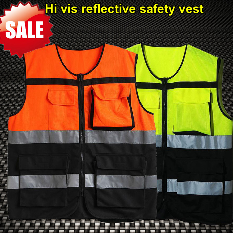 Men 's High visibility two tone safety reflective workwear clothing reflective vest fluorescent safety vest(China (Mainland))