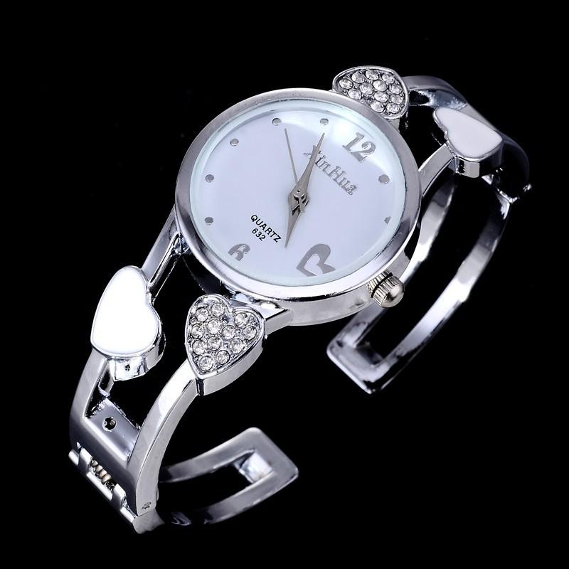 Роскошный горный хрусталь в форме сердца браслет часы женские часы женские часы полный стали кварцевые часы montre роковой relógio feМиниno