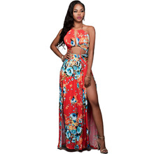 QY 2016 Summer Fashion Women Dresses Sexy Elegant Party Spaghetti Strap Backless Floral Print Maxi Dress