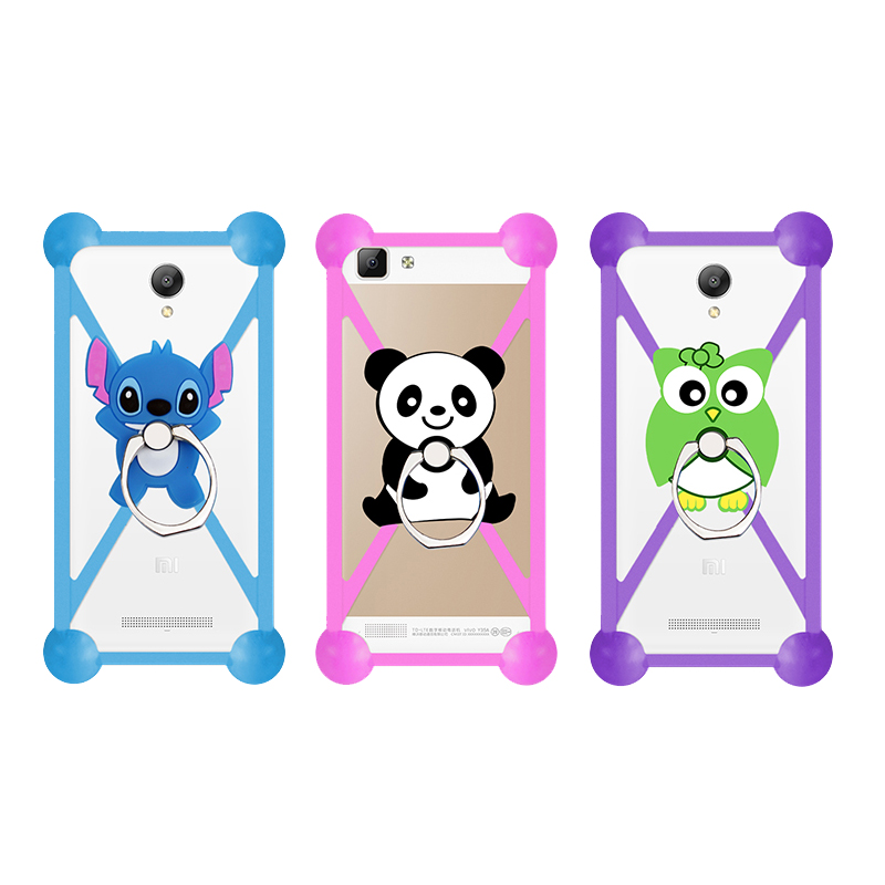 Cartoon Ring Stand Holder Soft Silicone Case For leagoo z5 Cell Phone Universal 3.5 - 5.5 Inch Bumper Frame Cover(China (Mainland))