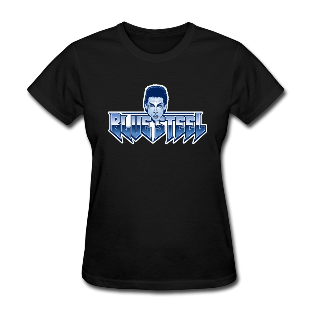 Casual women t shirt blue steel cool text t shirts women for Photo t shirts with text