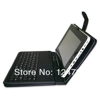 "Black USB Keyboard PU Leather Case/Stand for Huawei IDEOS S7 7"" Android Tablet+micro usb cable+mini usb cable"
