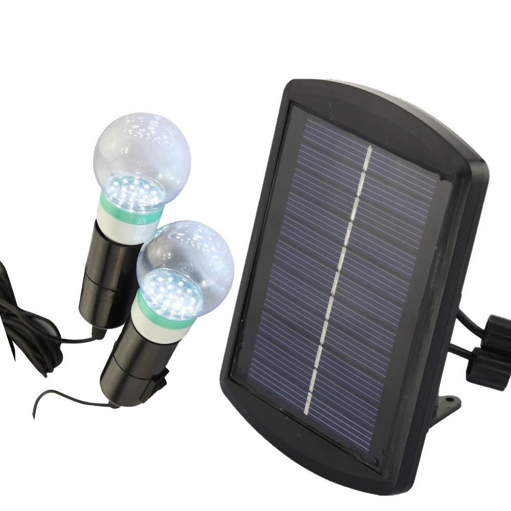 Гаджет  Free Ship Outdoor/Indoor Solar Power LED Lighting System Solar Light 2 Bulb solar panel Low-power Dissipation Garden Decoration None Свет и освещение