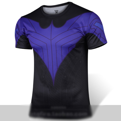 Summer Style Comics Dc Marvel Batman Nightwing Robin Blue T Shirt Superhero Costume Jersey Sport T-shirt Men Women Drop Ship(China (Mainland))