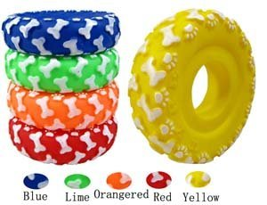 "Free shipping&New Dog/Cat Toy  Circle shape with Sounds  4.5"" length * 1.3"" width * Green PVC [50pcs/lot]"