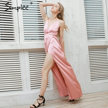 Simplee Slip satin backless sexy long dress Women pajamas summer dress evening Party elegant black maxi dresses vestidos(China (Mainland))