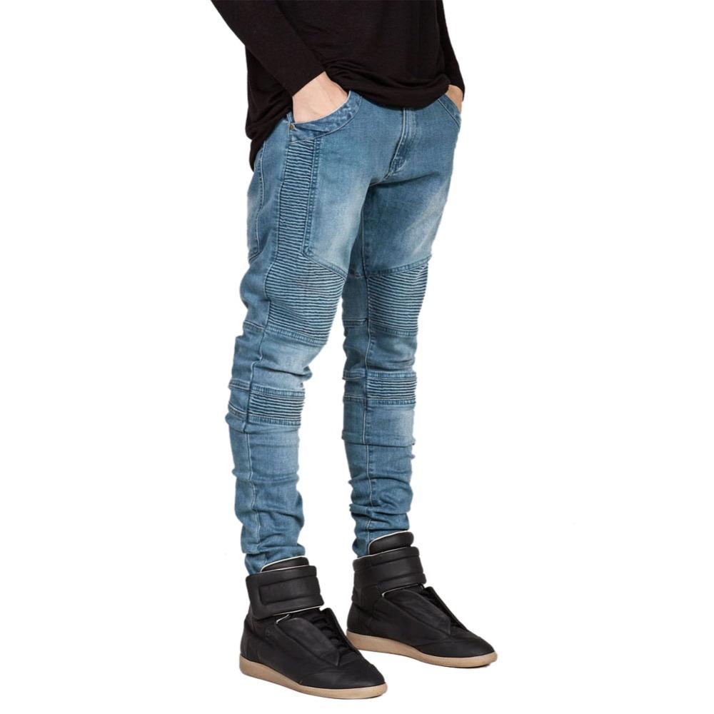 Famous Brand Men Straight Slim Fit Biker Jeans Pant Denim Trousers Jeans Men Biker Denim skinny Men Jean Blue Black Grey Pants(China (Mainland))