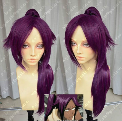 Hot heat resistant Kanekalon Party hair FREE SHIPPING&gt;&gt;Shihouin Yoruichi 60cm Purple Lolita Cosplay Party Wig  Ponytail<br><br>Aliexpress