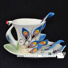 Free shipping Porcelain enamel Peacock coffee cup Set peacock Saucer Spoon Creative gifts Art Pottery blue