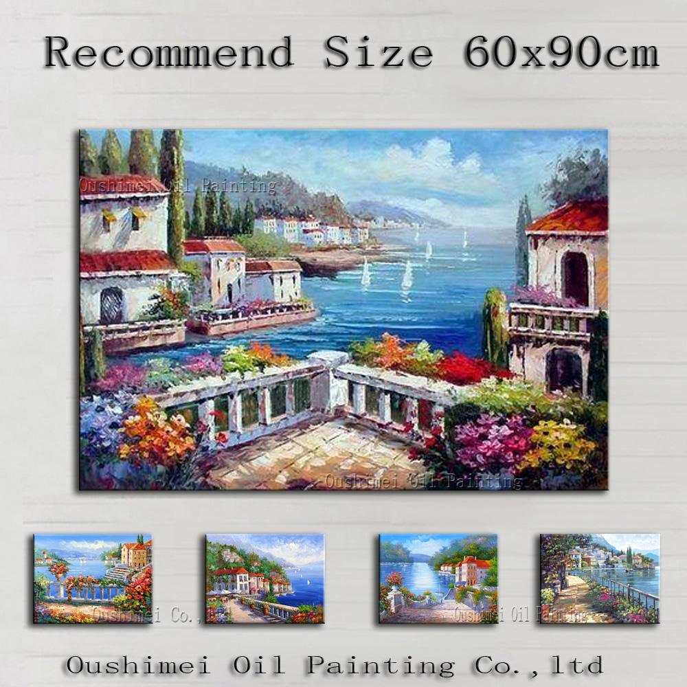 Wholesale Price High Quality Impression Landscape Mediterranean Oil Painting On Canvas Beautiful Europe Landscape Paintings(China (Mainland))