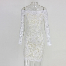 2017 New Slash Neck Full Sleeves Lace Elegant Women Dress Brief Solid Color Causal MiniDress Hollow Out Floral Celebraty Dresses(China)