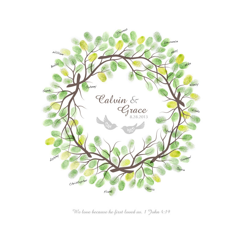 Wreath Guest Book Alternative with Ink Pads, Anniversary Gift ...