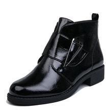 AIMEIGAO Peluş İç Patent Deri yarım çizmeler Kadınlar Siyah Platformu Topuklu Çizmeler İlkbahar Sonbahar Fermuar Ayak Bileği Siyah Kadın Botları(China)