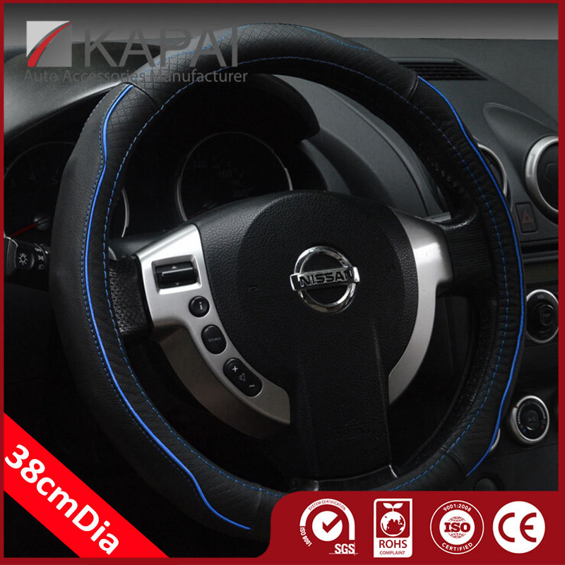 2015 Factory Price High Quality Wheel Genuine Cowhide Leather Diy Leather Car Steering Auto Steering Wheel Cover Genuine Leather(China (Mainland))