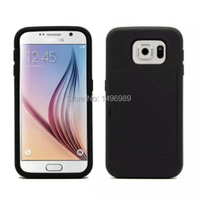 2015 new Armor Cases For Samsung Galaxy S6 G9200 Card Slider Case with Card Hybrid PC TPU Dual layer Card holder case cover(China (Mainland))