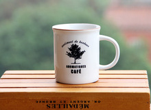Supply imitation enamel white ceramic mug breakfast coffee tree pattern Discounted Milk