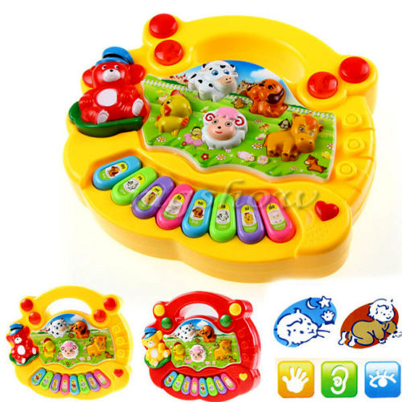 Baby Kids Music Musical Developmental Animal Farm Piano Sound Toy Musical Instrument Educational Toy Gift Random Color(China (Mainland))