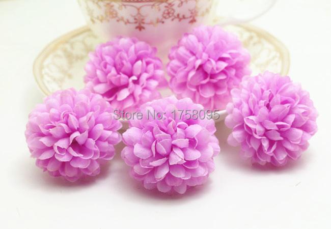 Wholesale Cheap 5*5cm 100Pcs Artificial Silk Flowers Daisy Gerbera Ball Purple Flowers Heads For Wedding Decoration Home DIY(China (Mainland))