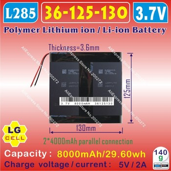 [L285] 3.7V,8000mAH,[36125130] PLIB;polymer lithium ion / Li-ion battery ( LGg cell ) for onda,sanei,cube,ainol,pipo,tablet pc