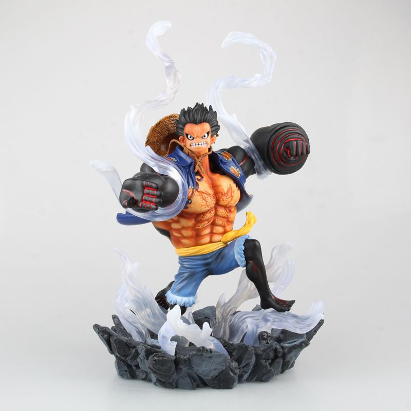 One Piece Monkey D Luffy Battle Fist Anime Manga PVC Figure New World 2 years later Gear 4th Straw Hat collection model(China (Mainland))