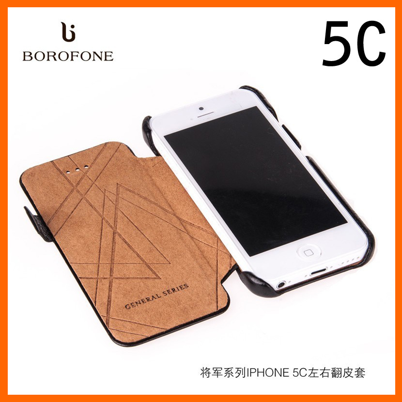 5 colors For iPhone 5C Free shipping Original Borofone brand phone cover Natural Cowhide Genuine Leather Case Hand-made(China (Mainland))