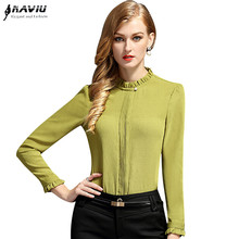 Buy Slim fashion OL career shirt women's high elegant stand collar long-sleeve chiffon blouse offce ladies plus size tops ) for $13.75 in AliExpress store