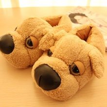Brown Dog slippers  plush cotton-padded indoor slippers autumn and winter  home slippers pantufas de animais
