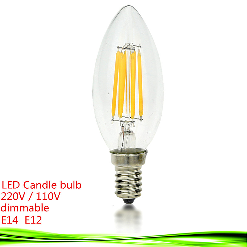 New LED E14 bulb 4W 6W 9W E12 AC 220V 110V dimmable LED Filament Candle Bulb light warm/cold white Chandelier crystal led lamp(China (Mainland))