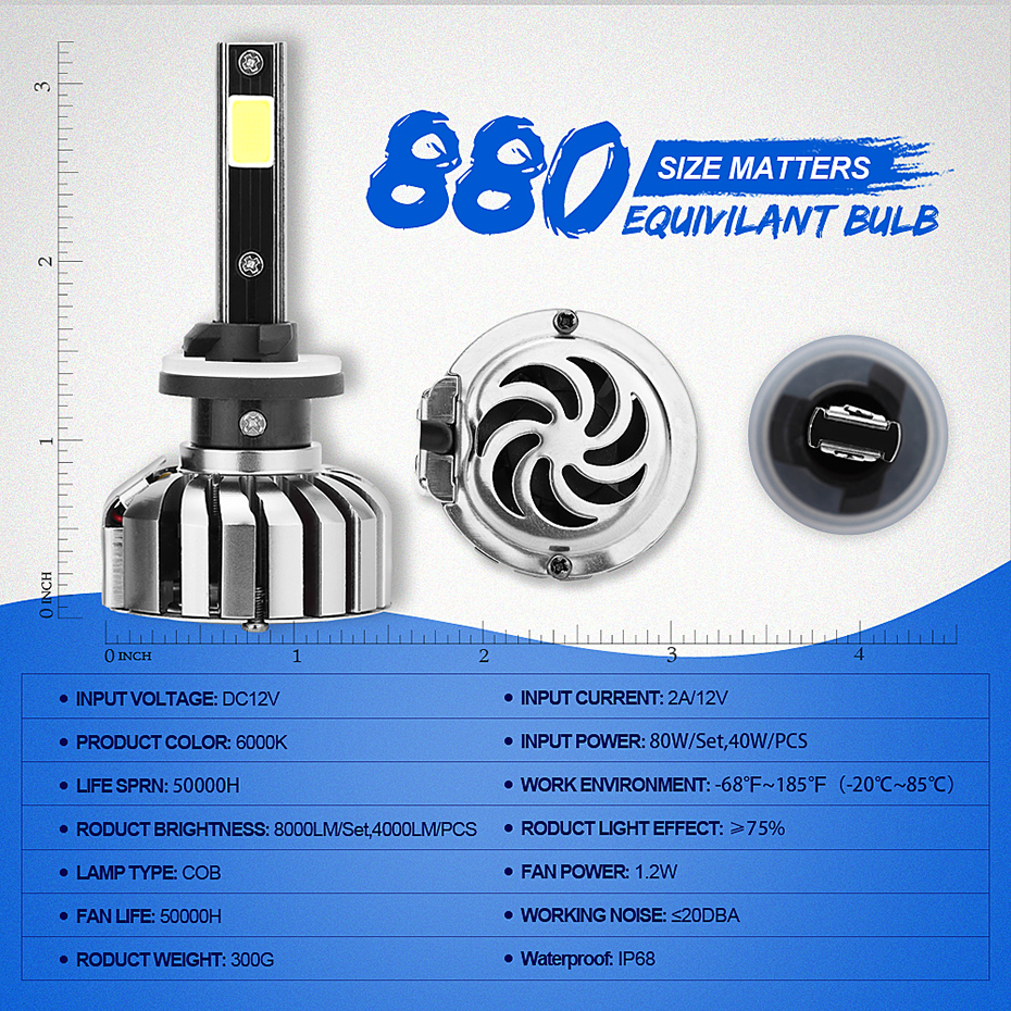 Car Headlamp COB H7 880 H3 H8 H9 H11 9005 H1 9006 led Auto Headlight Bulb Kit 80W 8000lm /pair Front Fog Light 6000K BJ