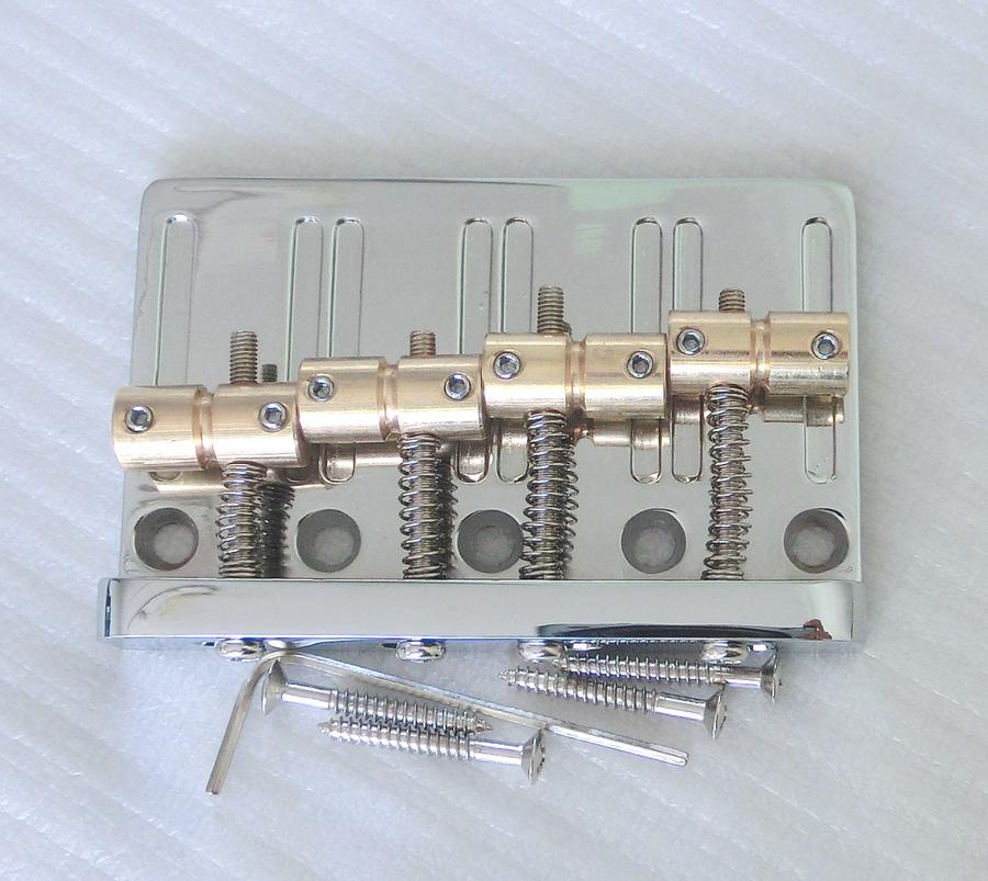 Free Shipping Bass parts Brass saddles bass bridge chrome color 4 string bass bridge(China (Mainland))