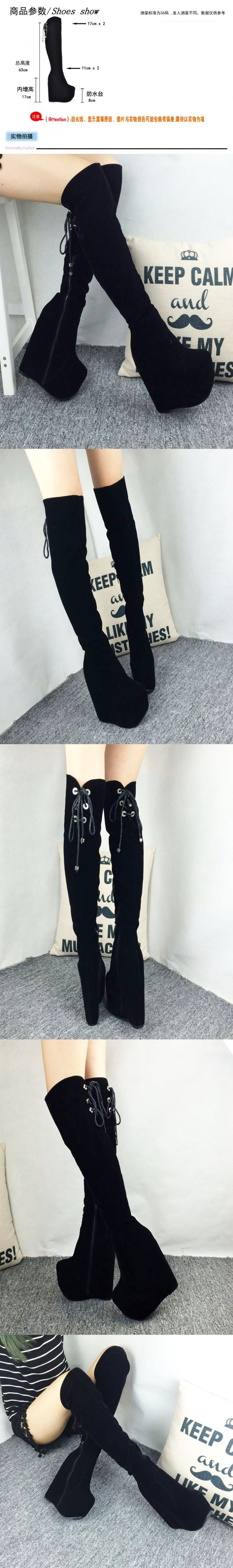 Cheap Length High Heel Shoes Wedges Over The Knee Comfortable Women's Boots For Work In Style 2016 17cm