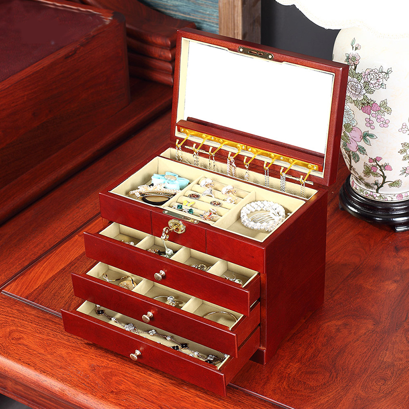 The wooden jewelry box with a lock four layer with mirror retro European large high-grade birthday gift comb(China (Mainland))