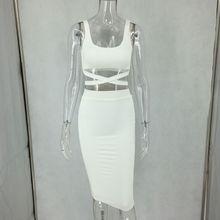 Fuedage сексуальное платье футляр Для женщин Твердые выдалбливают Бандажное платье Спагетти ремень двухэтажные Белый Элегантный Платья для в...(China)