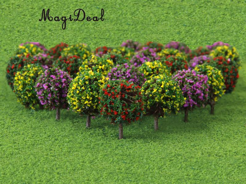 MagiDeal 30Pcs/Lot Mixed 3 Colors Flower Model Train Trees Ball Shaped Scenery Landscape 1/100 Scale for Railway Road Kids Toy