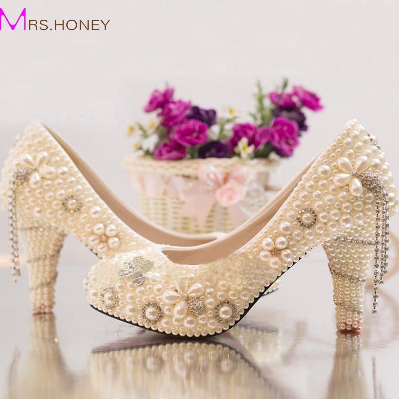 Фотография New Arrival Summer Rhinestone Wedding Shoes Bride Pearl Crystal Dress Shoes Handcraft Ivory High Heel Platforms Prom Party Shoes
