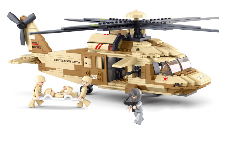 Sluban UH-6OL Military Series Black Hawk Helicopters Building Blocks Fighter Bricks Toys Gift Compatible With Lego(China (Mainland))