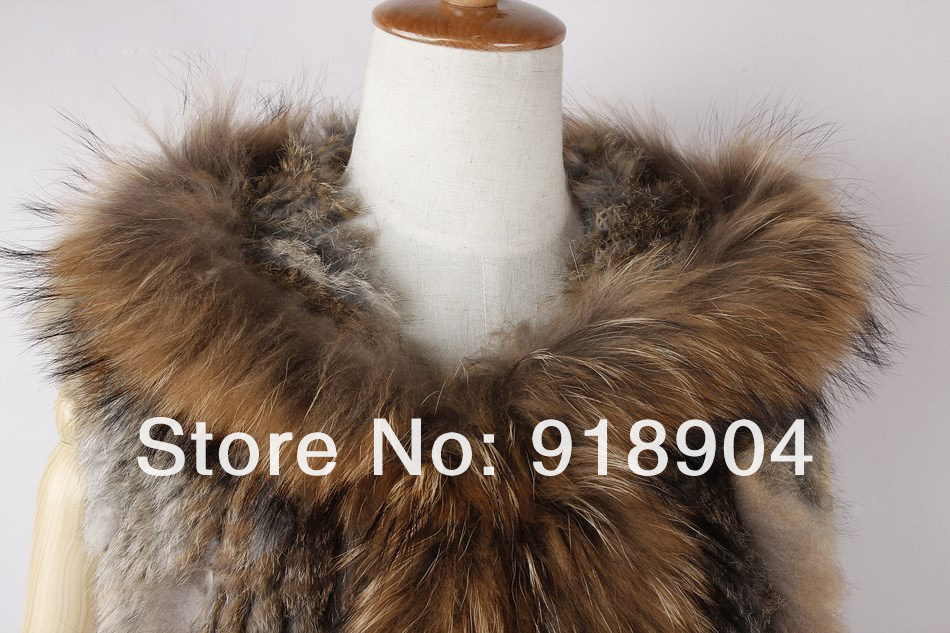 Real natural Genuine knitted Rex Rabbit Fur Vest with raccoon fur collar  tassel Women Gilet waistcoat  Vest Outwear