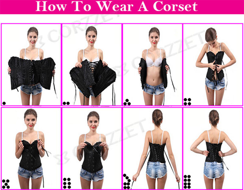 Steampunk Overbust Steel Boned Waist Trainer Corset Corselet Vintage Corsets and Bustiers Gothic Clothing Burlesque Costume