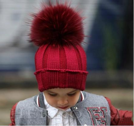 Genuine Real Fox Fur Winter Hat Cap For Kids Boy Girl Knitted Children Raccoon Fur Pompom Beanie Hat Ski Hat With Pom Poms Ball(China (Mainland))