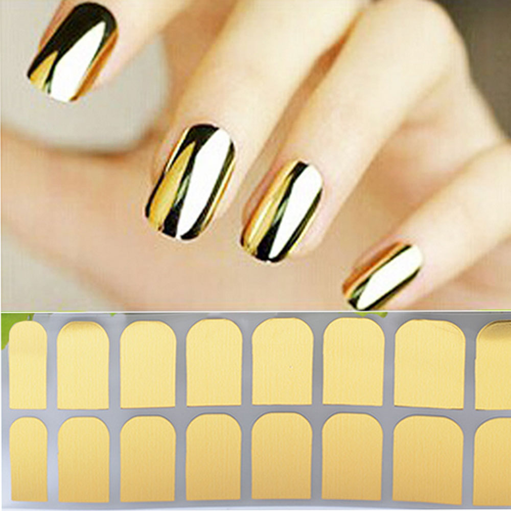 1sheet DIY Designer Smooth Gold Foil Armour Nail Sticker Art Decoration Sticker Patch Nail Wraps Tools Manicure Stickers(China (Mainland))