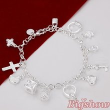 wholesale silver plated bracelet fashion bracelet with cross/moon/heart girl jewelry(China (Mainland))